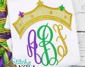 Mardi Gras Tiara Monogram Applique, Purple Green And Gold Monogram, Mardi Gras Crown Applique, Mardi Gras Outfit