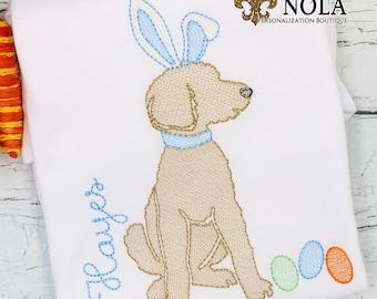 Dog Bunny Sketch, Dog Bunny Vintage, Easter Shirt, Bunny Shirt, Golden Doddle Bunny