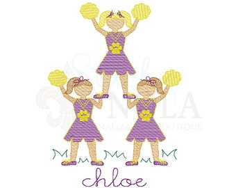 Cheerleader and Pom Poms Sketch Embroidery, Tiger Football Shirt, Tiger Football