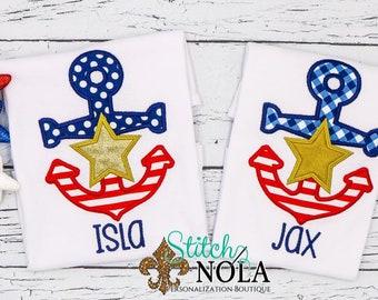 Patriotic Anchor Applique, Fourth of July Applique, Beach Applique