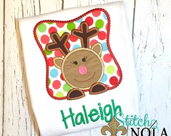 Reindeer Girl in Box Shirt, Gown, Romper or Bodysuit