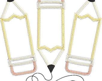 Pencil Scribble Trio Applique, Back to School Shirt, Monogrammed Back to School Shirt, Personalized Back to School