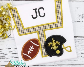 Black and Gold Goal Post with Fleur de lis Helmet & Football T-Shirt or Bodysuit