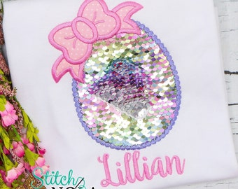 Flip Sequins Easter Egg with Bow Applique, Sequined Easter Egg Applique, Sparkly Easter Egg Applique