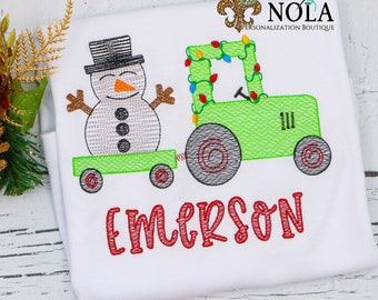 Vintage Christmas Tractor And Snowman Embroidery, Tractor With Lights, Christmas Sketch Design, Christmas Shirt, Personalized Holiday Shirt