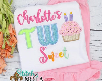 Two Sweet Applique Shirt and Pants Set, 2nd Birthday Outfit, Two Sweet Cupcake Shirt