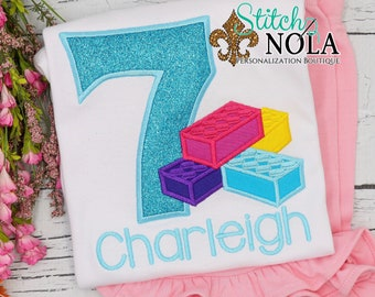 Blocks Birthday Number Applique Top and Bottom Set, Blocks Birthday Applique, Blocks Birthday, Girl Birthday Outfit