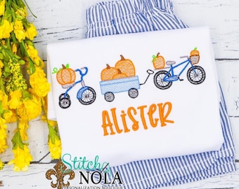Bike and Tricycle Pumpkin Sketch Personalized Shirt and Shorts Set, Fall Festival Outift, Boys Fall Outfit
