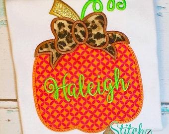 Leopard Bow Pumpkin Bubble, Tee, Gown, or Bodysuit