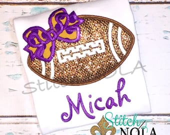 Football with Bow Applique, Football Applique, Glitter Football with Bow T-Shirt or Bodysuit