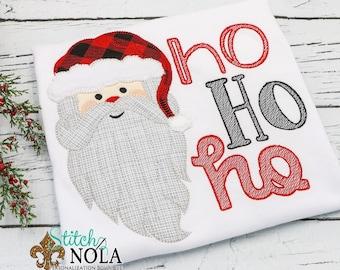 Santa Claus Applique, Santa Applique, Ho Ho Ho Applique, Santa Shirt, Christmas Applique