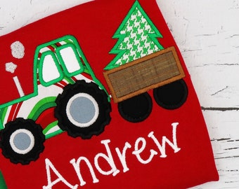 Christmas Tractor with Tree Applique, Christmas Tractor, XMAS Tractor with Tree, Christmas Applique, Christmas Shirt, XMAS Pics