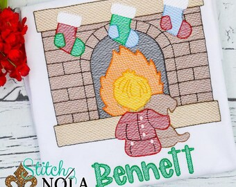 Christmas Sketch Fireplace, Stockings By Fire, Boy And Puppy Christmas, Christmas Shirt
