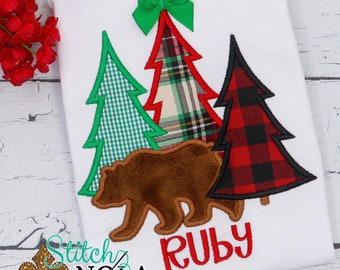 Woodlands With Bear Applique, Tree Trio With Bear, Winter Applique