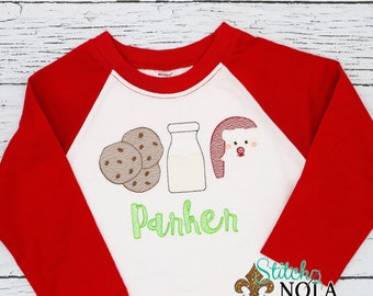 Milk and Cookies Trio Sketch Embroidery, Christmas Santa, Raglan