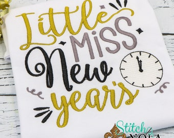 Little Miss New Years, New Years Embroidery