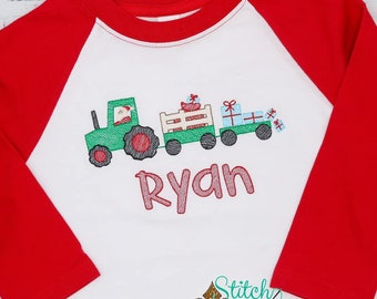 Christmas Sketch, Christmas Tractor Personalized Embroidery, Santa Tractor with Presents