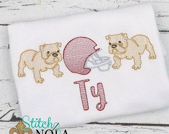 Bulldog Trio Sketch Embroidery, Bulldog Shirt