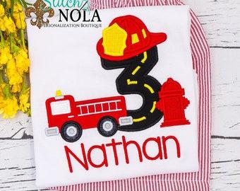 Boy Birthday Outfit, Fire Truck Birthday Shirt, Fire Truck Birthday Outfit