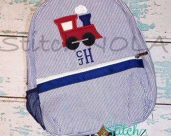 Seersucker Backpack with Train, Seersucker Diaper Bag, Seersucker School Bag, Seersucker Bag, Diaper Bag, School Bag, Book Bag, Backpack