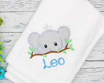 Monogrammed Baby Blanket, Elephant Baby Blanket