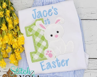 1st Easter Applique Top And Bottom Set, Baby's First Easter, Easter Outfit, Bunny Applique, Boys 1st Easter Outfit