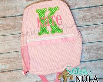 Seersucker Backpack with Letter Applique, Seersucker Diaper Bag, Seersucker School Bag, Seersucker Bag, Diaper Bag, School Bag, Book Bag,