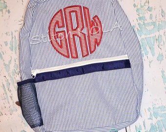 Seersucker Backpack with Monogram Applique, Seersucker Diaper Bag, Seersucker School Bag, Seersucker Bag, Diaper Bag, School Bag, Book