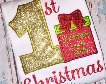 Baby's first Christmas, first Christmas appliqué, Present appliqué, Christmas shirt, first Christmas T-Shirt, Romper or Bodysuit