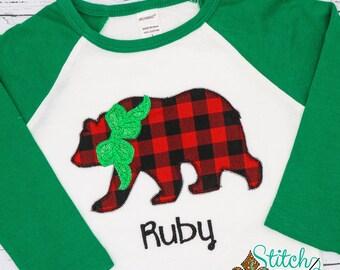 Bear Applique, Buffalo Check Bear Applique, Boy Bear Applique, Bear with Bow Applique, Christmas Applique