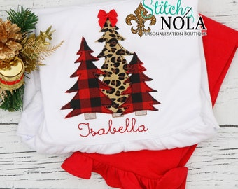Buffalo Plaid And Leopard Print Christmas Trees Top And Bottom Set, Christmas Tree Trio, Girl Christmas Appliqué Outfit, Xmas Outfit