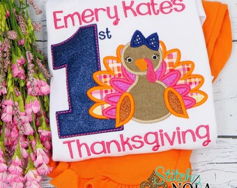 First Thanksgiving Turkey Applique Top And Bottom Set, Turkey Applique, Thanksgiving Applique Outfit, Turkey Embroidery, Thanksgiving Shirt