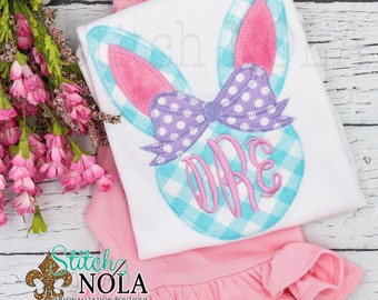 Bunny Monogram Top and Shorts Set, Easter Outfit, Bunny Applique