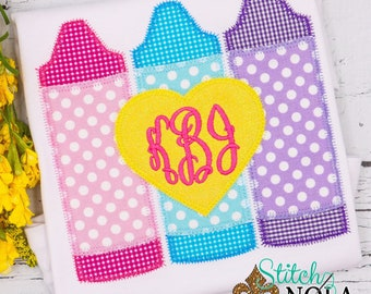 Crayon Trio with Heart Monogram Applique, Back to School Shirt, Monogrammed Back to School Shirt, Personalized Back to School