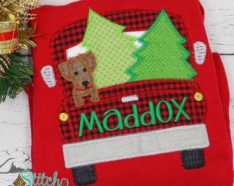 Christmas Truck With Dog & Trees Applique, Christmas Buffalo Plaid Truck Shirt, XMAS Boy Shirt, Winter Applique