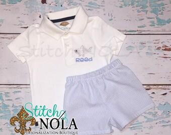 Shark Collarded Shirt & Blue Seersucker Shorts Set, Shark Shirt, Shark Outfit