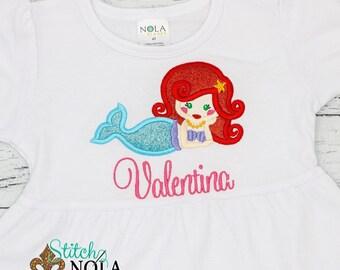 Mermaid Applique, Personalized Mermaid Applique, Mermaid Outfit, Beach Applique, Beach Outfit, Beach Shirt