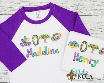 Mardi Gras King Cake, Beads, Jester Hat, Bead Tree, Mardi Gras Mask Sketch Embroidery, Mardi Gras Bead Tree Sketch, Mardi Gras Shirt
