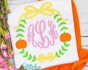 Personalized Pumpkin Shirt and Shorts, Pumpkin Embroidery Frame Tee, Monogrammed Shirt