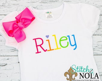 Rainbow Monogrammed Tee, Bodysuit, Dress, Bubble, Unisex Bubble, Ruffle Bubble, Romper, Flutter Bubble, Rainbow Shirt, Rainbow Name, Rainbow