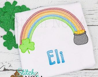 Rainbow Clover Pot of Gold Sketch Embroidery, Shamrock Shirt, St Patricks Day Shirt, Four Leaf Clover, Pot of Gold