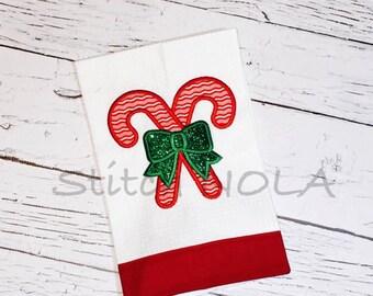 Candy Cane Waffle Towel
