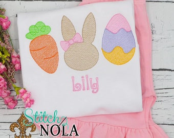 Carrot Bunny Egg Trio Top And Bottom Set, Easter Trio Sketch Embroidery, Spring Embroidery, Easter Outfit, Girl Easter Outfit