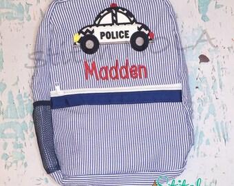 Seersucker Backpack with Police Car, Seersucker Diaper Bag, Seersucker School Bag, Seersucker Bag, Diaper Bag, School Bag, Book Bag, Backpac