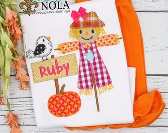Girls Fall Festival Shirt and Shorts Set, Scarecrow Outfit, Fall Festival Outfit