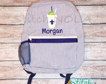Snowball Backpack, Seersucker Diaper Bag, Seersucker School Bag, Seersucker Bag, Diaper Bag, School Bag, Book Bag, Backpack