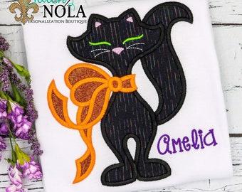 Black Cat Applique, Black Cat Embroidery, Black Cat Halloween Shirt, Halloween Tee, Halloween Shirt, Halloween Applique