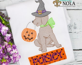 Trick or Treat Witch Dog Sketch Embroidery with Name Patch, Witch Dog Sketch Embroidery, Halloween Shirt, Pumpkin Shirt, Witch Shirt