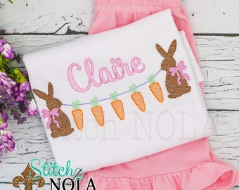 Bunny with Carrots Top & Shorts Set, Bunny Sketch Embroidery , Bunny Outfit, Bunny Shirt