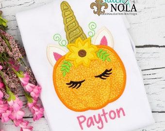 Unicorn Pumpkin Applique, Pumpkin Applique, Unicorn Applique, Fall Applique, Pumpkin Patch Outfit, Pumpkin Unicorn